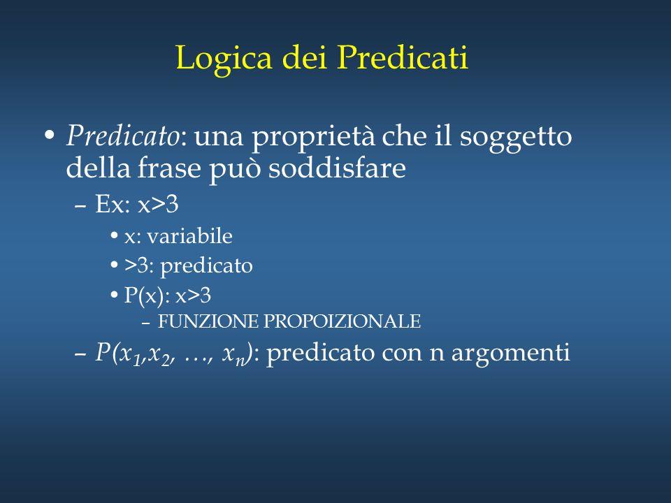 Logica dei Predicati Predicato : una proprietà che il soggetto della frase può soddisfare –Ex: x>3 x: variabile >3: predicato P(x): x>3 –FUNZIONE PROP