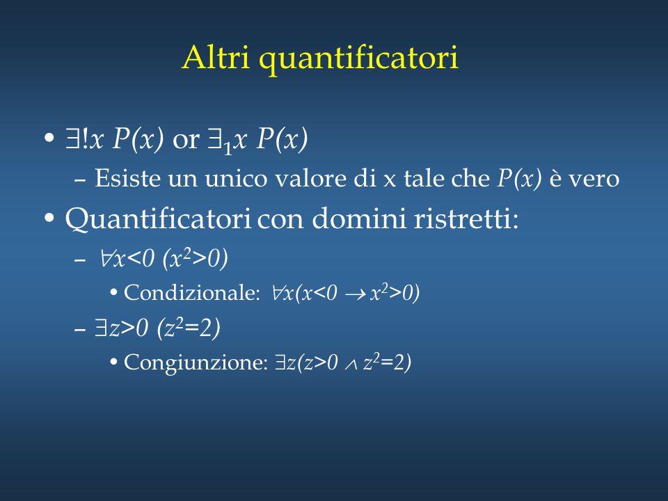Altri quantificatori  ! x P(x) or  1 x P(x) –Esiste un unico valore di x tale che P(x) è vero Quantificatori con domini ristretti: –  x 0) Condizio