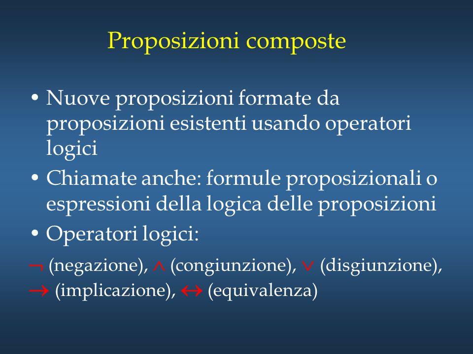Proposizioni composte Nuove proposizioni formate da proposizioni esistenti usando operatori logici Chiamate anche: formule proposizionali o espression