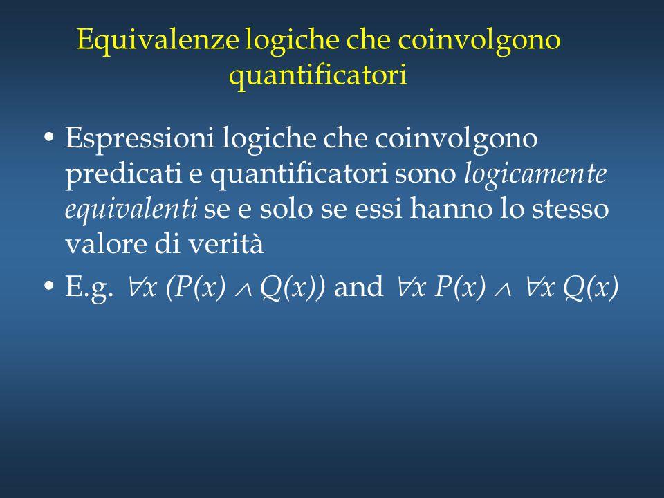 Equivalenze logiche che coinvolgono quantificatori Espressioni logiche che coinvolgono predicati e quantificatori sono logicamente equivalenti se e so