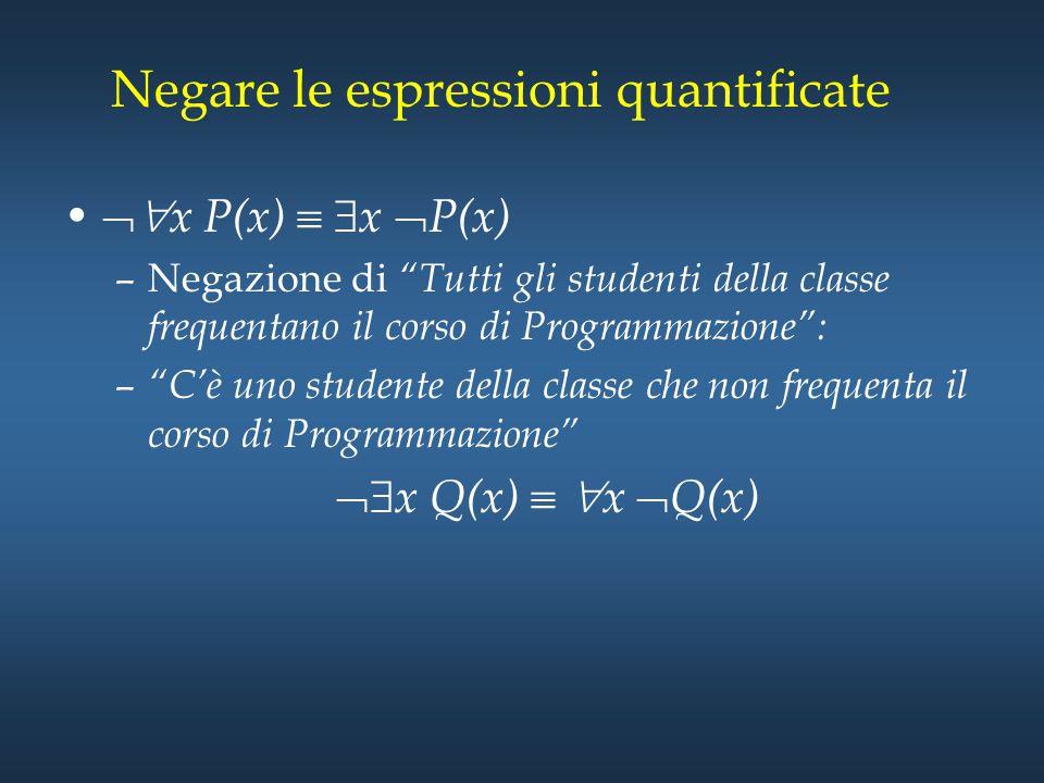 """Negare le espressioni quantificate  x P(x)   x  P(x) –Negazione di """"Tutti gli studenti della classe frequentano il corso di Programmazione"""": – """"C"""
