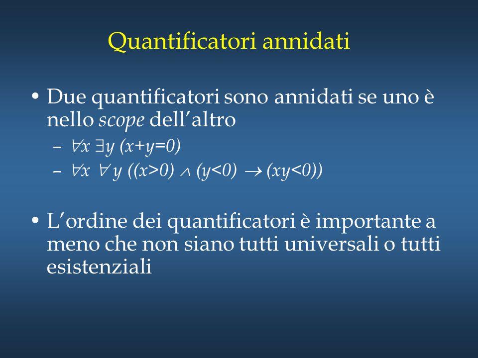 Quantificatori annidati Due quantificatori sono annidati se uno è nello scope dell'altro –  x  y (x+y=0) –  x  y ((x>0)  (y<0)  (xy<0)) L'ordine
