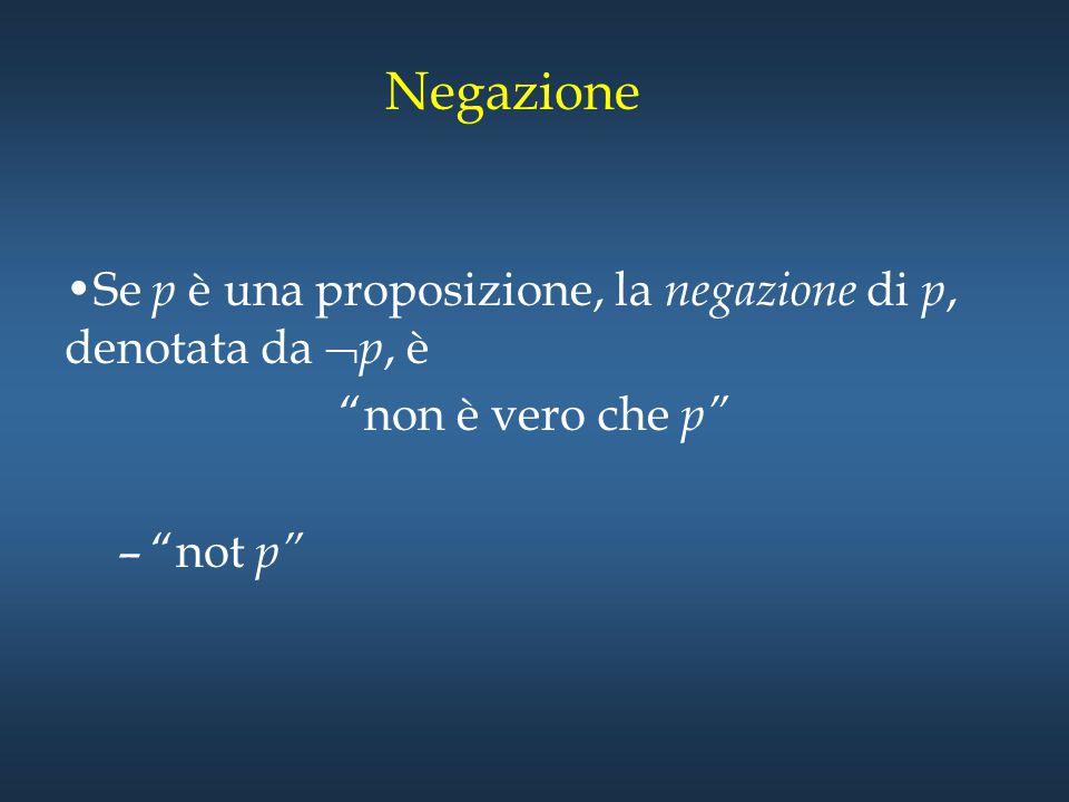 """Negazione Se p è una proposizione, la negazione di p, denotata da  p, è """"non è vero che p"""" –""""not p"""""""