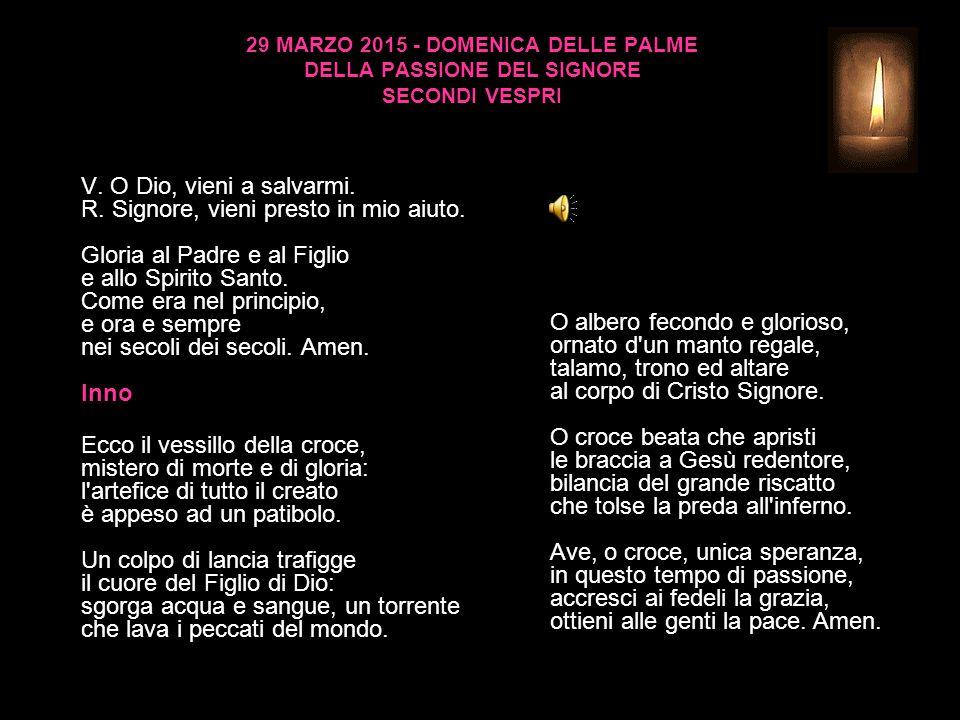 29 MARZO 2015 - DOMENICA DELLE PALME DELLA PASSIONE DEL SIGNORE SECONDI VESPRI V.