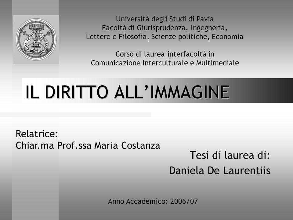 IL DIRITTO ALL'IMMAGINE Tesi di laurea di: Daniela De Laurentiis Relatrice: Chiar.ma Prof.ssa Maria Costanza Anno Accademico: 2006/07 Università degli