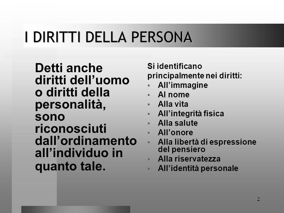 2 I DIRITTI DELLA PERSONA Detti anche diritti dell'uomo o diritti della personalità, sono riconosciuti dall'ordinamento all'individuo in quanto tale.