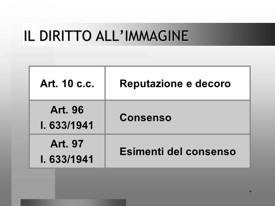 7 IL DIRITTO ALL'IMMAGINE Art. 10 c.c. Reputazione e decoro Art. 96 l. 633/1941 Consenso Art. 97 l. 633/1941 Esimenti del consenso