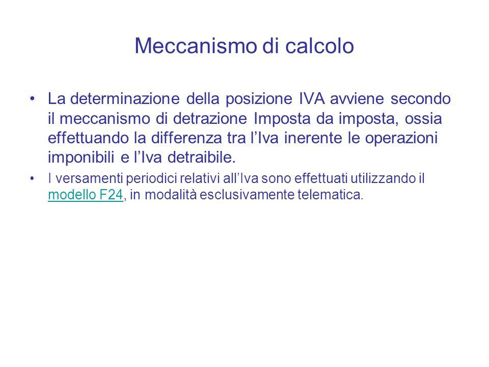 Meccanismo di calcolo La determinazione della posizione IVA avviene secondo il meccanismo di detrazione Imposta da imposta, ossia effettuando la differenza tra l'Iva inerente le operazioni imponibili e l'Iva detraibile.