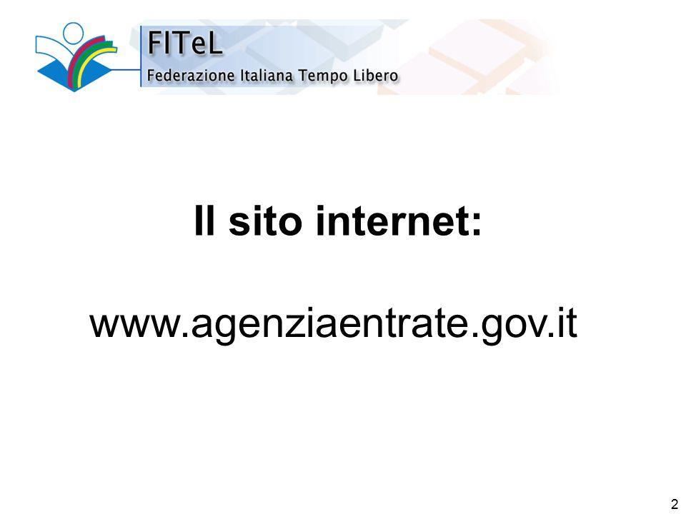 3 Il sito internet (1) www.agenziaentrate.gov.it