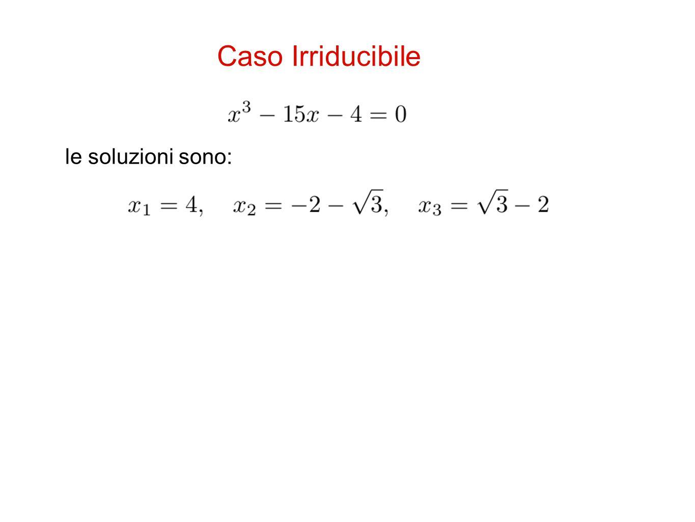Caso Irriducibile le soluzioni sono: