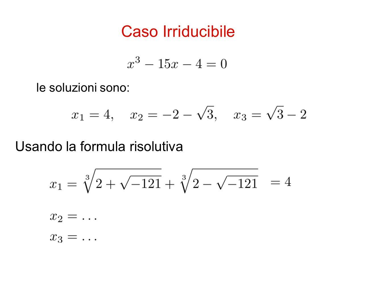 Usando la formula risolutiva Caso Irriducibile le soluzioni sono: