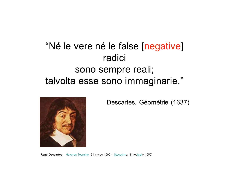 Né le vere né le false [negative] radici sono sempre reali; talvolta esse sono immaginarie. Descartes, Géométrie (1637) Haye en TouraineHaye en Touraine, 31 marzo 1596 – Stoccolma, 11 febbraio 1650)StoccolmbraiRené Descartes