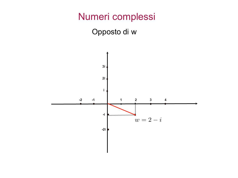 1234 i 2i 3i -i -2i -2 Numeri complessi Opposto di w