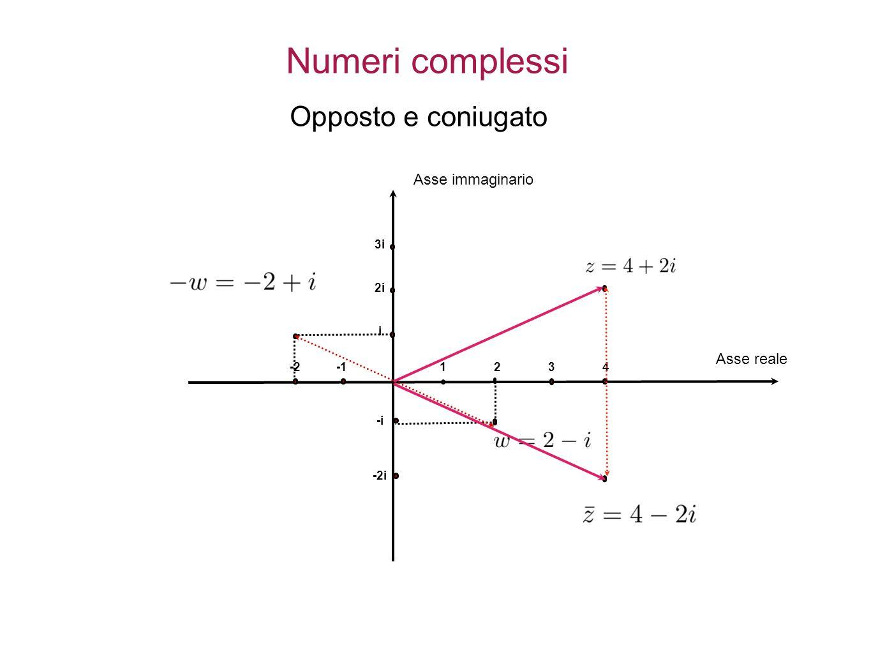 1234 i 2i 3i -i -2i -2 Asse immaginario Asse reale Numeri complessi Opposto e coniugato