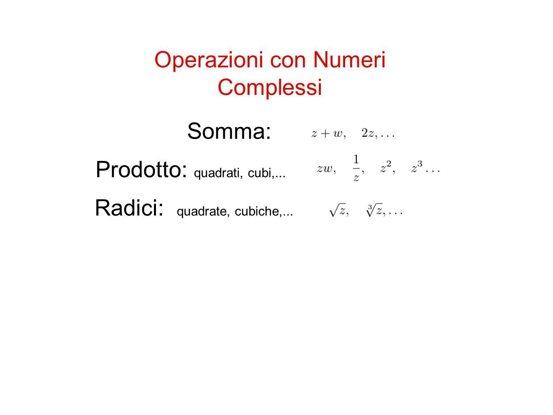 Operazioni con Numeri Complessi Somma: Prodotto: quadrati, cubi,... Radici: quadrate, cubiche,...