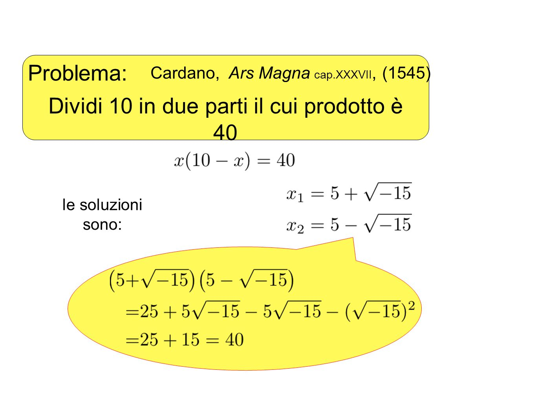 Girolamo Cardano (1501 – 1576?) Così progredisce la sottigliezza aritmetica il cui fine, come si dice, è tanto raffinato quanto inutile. Lasciando da parte le torture mentali connesse: