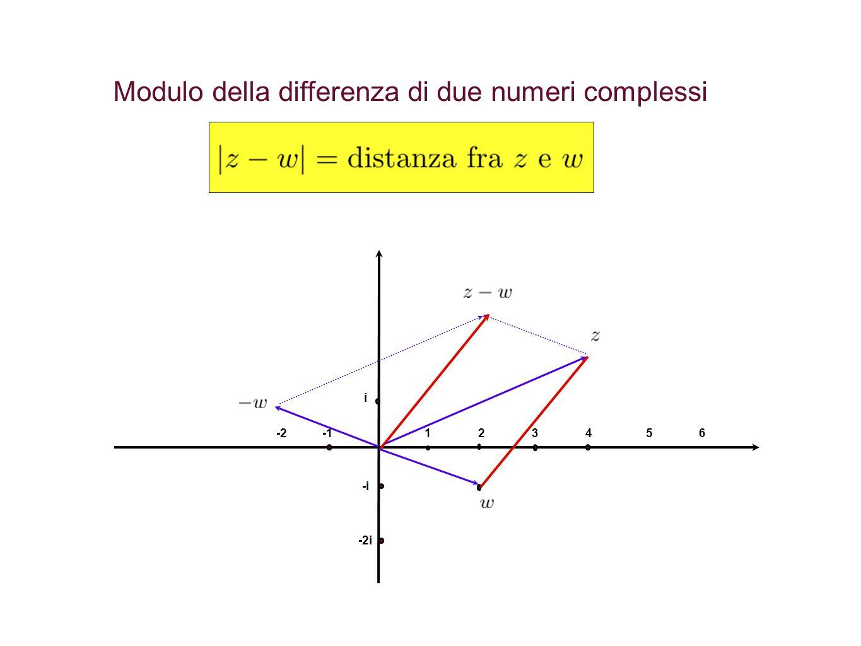 Modulo della differenza di due numeri complessi 1234 i -i -2i -265