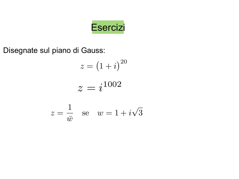 Esercizi Disegnate sul piano di Gauss: