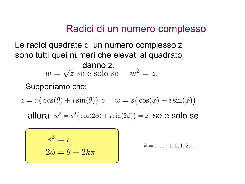 Radici di un numero complesso Le radici quadrate di un numero complesso z sono tutti quei numeri che elevati al quadrato danno z.