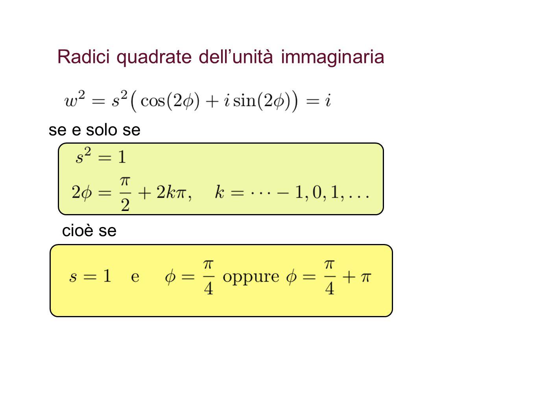 Radici quadrate dell'unità immaginaria se e solo se cioè se