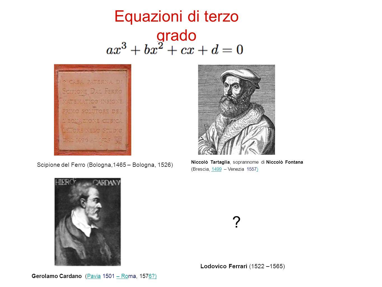 Equazioni di terzo grado Niccolò Tartaglia, soprannome di Niccolò Fontana (Brescia, 1499 – Venezia 1557)1499) Gerolamo Cardano (Pavia 1501 – Roma, 1576 )Pavia– Ro6 ) Scipione del Ferro (Bologna,1465 – Bologna, 1526) Lodovico Ferrari (1522 –1565)