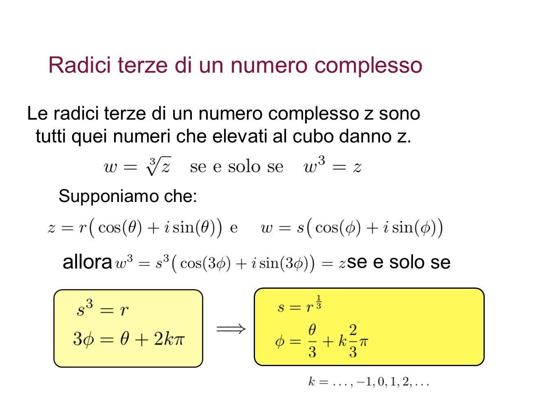 Radici terze di un numero complesso Le radici terze di un numero complesso z sono tutti quei numeri che elevati al cubo danno z.