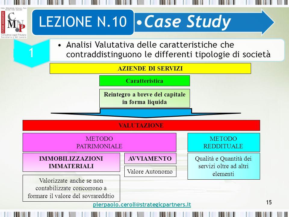 pierpaolo.ceroli@strategicpartners.it 15 Case Study LEZIONE N.10 1 Analisi Valutativa delle caratteristiche che contraddistinguono le differenti tipol