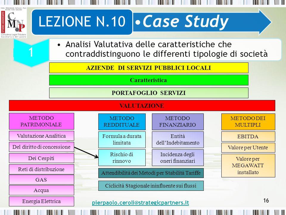 pierpaolo.ceroli@strategicpartners.it 16 Case Study LEZIONE N.10 1 Analisi Valutativa delle caratteristiche che contraddistinguono le differenti tipol