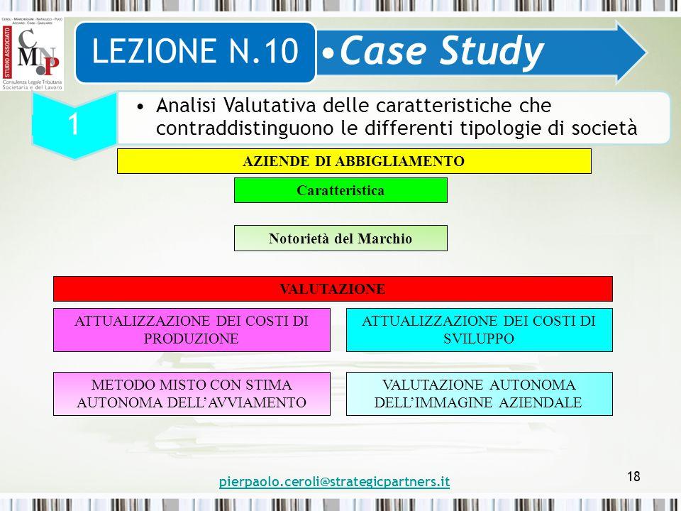 pierpaolo.ceroli@strategicpartners.it 18 Case Study LEZIONE N.10 1 Analisi Valutativa delle caratteristiche che contraddistinguono le differenti tipol