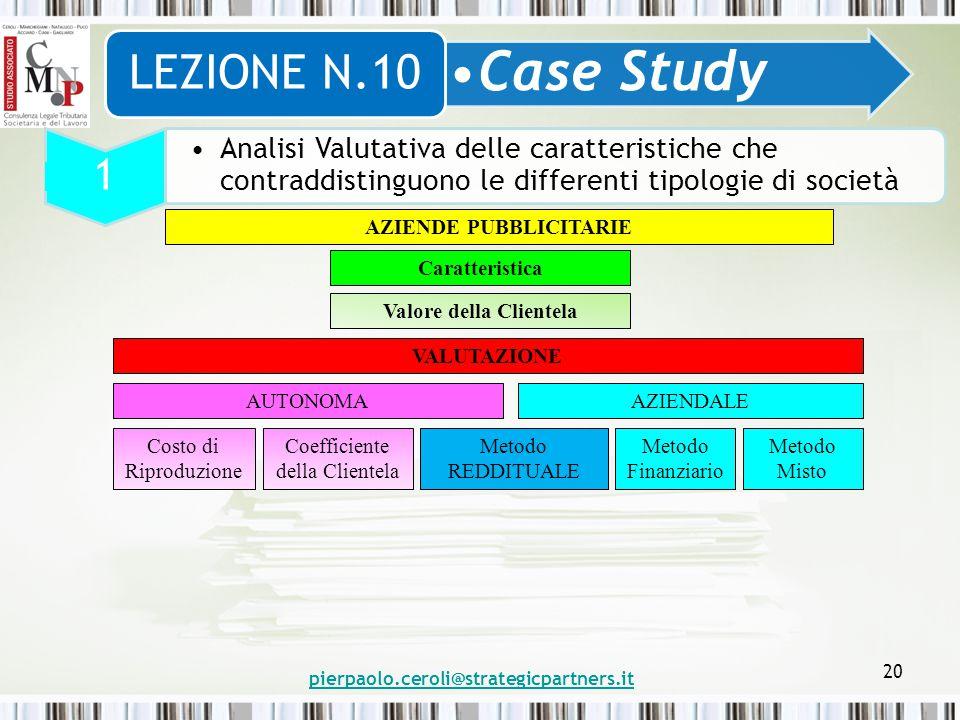 pierpaolo.ceroli@strategicpartners.it 20 Case Study LEZIONE N.10 1 Analisi Valutativa delle caratteristiche che contraddistinguono le differenti tipol