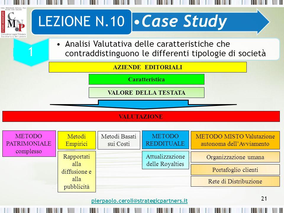pierpaolo.ceroli@strategicpartners.it 21 Case Study LEZIONE N.10 1 Analisi Valutativa delle caratteristiche che contraddistinguono le differenti tipol