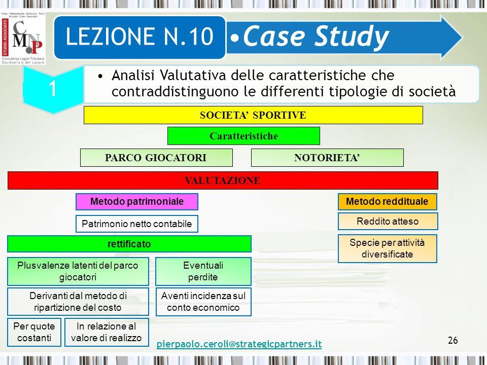 pierpaolo.ceroli@strategicpartners.it 26 Case Study LEZIONE N.10 1 Analisi Valutativa delle caratteristiche che contraddistinguono le differenti tipol