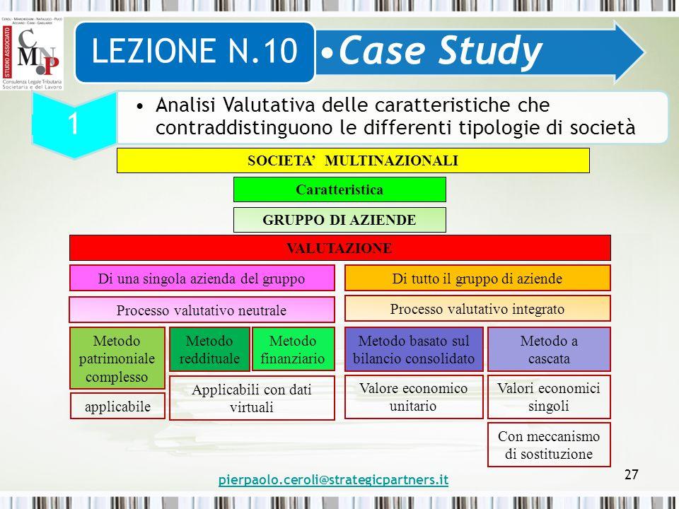 pierpaolo.ceroli@strategicpartners.it 27 Case Study LEZIONE N.10 1 Analisi Valutativa delle caratteristiche che contraddistinguono le differenti tipol
