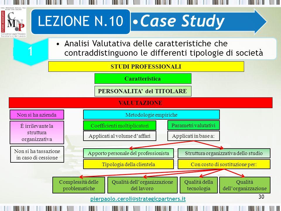pierpaolo.ceroli@strategicpartners.it 30 Case Study LEZIONE N.10 1 Analisi Valutativa delle caratteristiche che contraddistinguono le differenti tipol