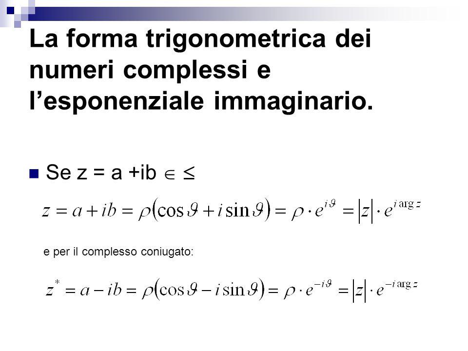 La forma trigonometrica dei numeri complessi e l'esponenziale immaginario. Se z = a +ib   e per il complesso coniugato: