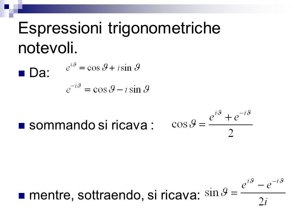 Espressioni trigonometriche notevoli. Da: sommando si ricava : mentre, sottraendo, si ricava: