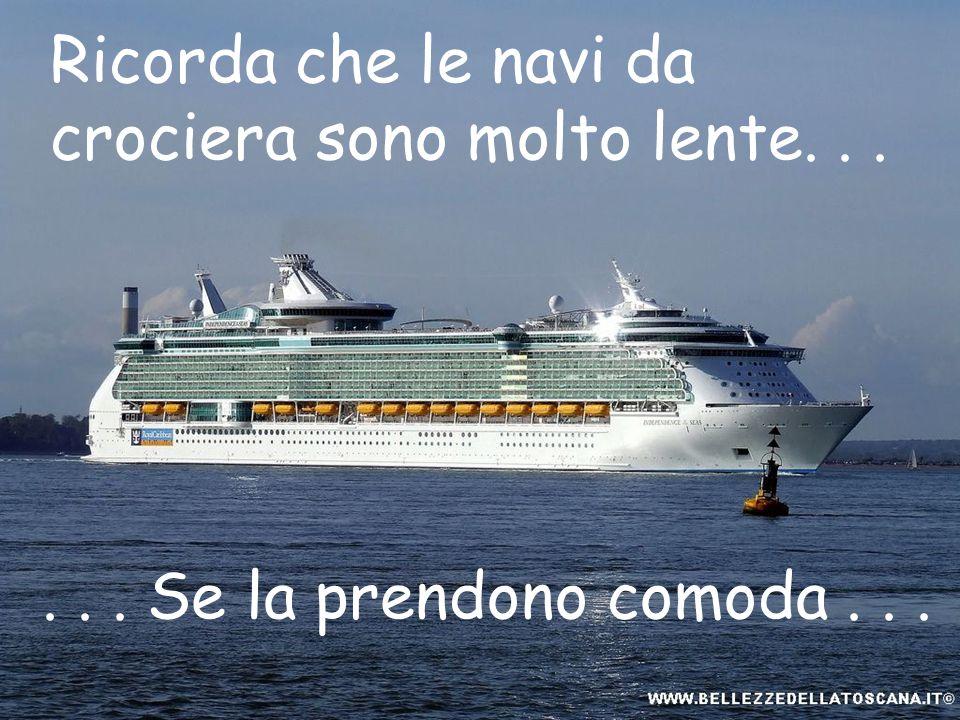 Ricorda che le navi da crociera sono molto lente...... Se la prendono comoda...