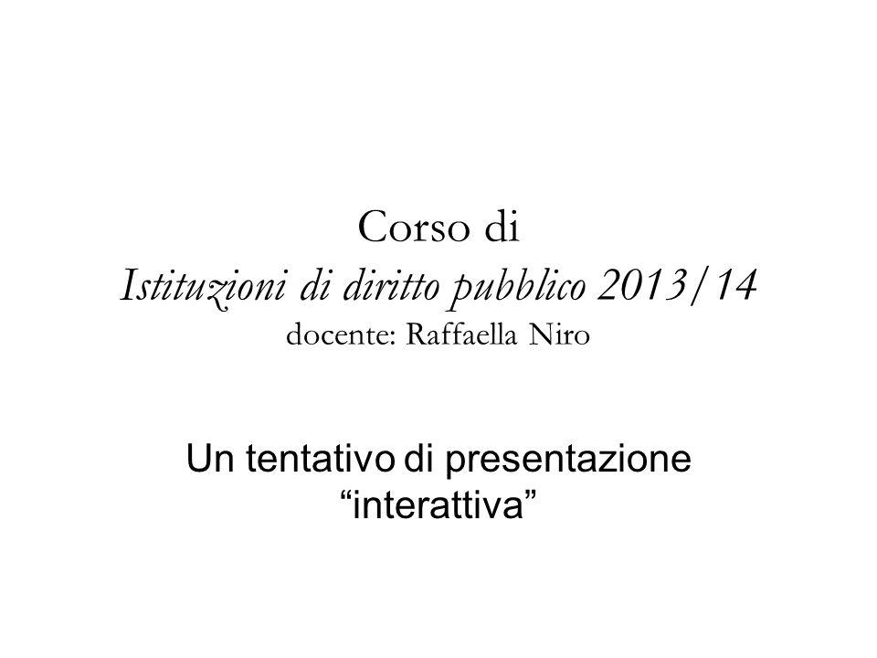 Corso di Istituzioni di diritto pubblico 2013/14 docente: Raffaella Niro Un tentativo di presentazione interattiva