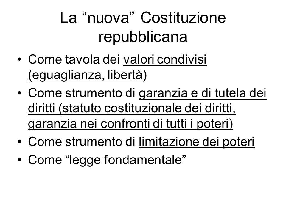 """La """"nuova"""" Costituzione repubblicana Come tavola dei valori condivisi (eguaglianza, libertà) Come strumento di garanzia e di tutela dei diritti (statu"""