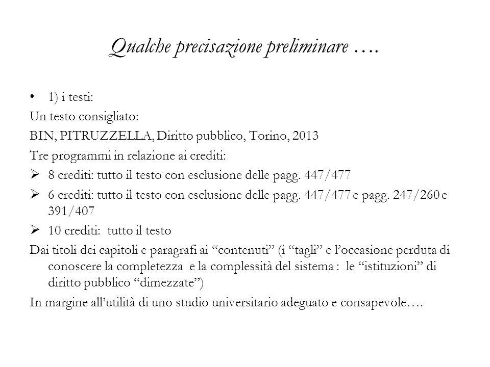 Qualche precisazione preliminare …. 1) i testi: Un testo consigliato: BIN, PITRUZZELLA, Diritto pubblico, Torino, 2013 Tre programmi in relazione ai c