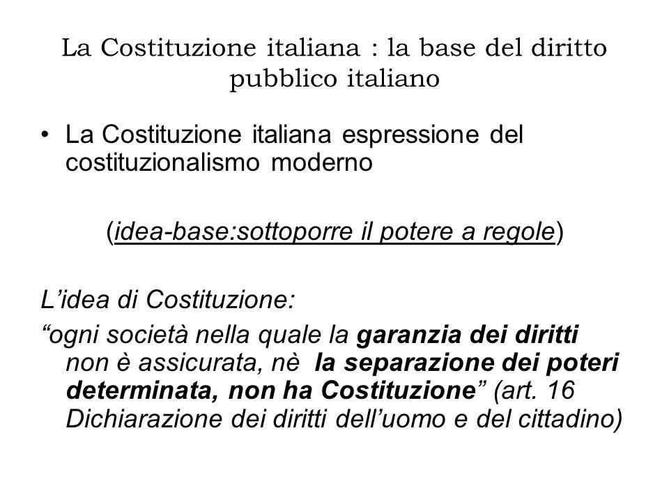 Alle origini della Costituzione italiana Dallo Statuto Albertino del 1848 (la prima costituzione dello Stato italiano: una costituzione flessibile; concessa dal Re che partecipava di tutti i poteri ; i diritti riconosciuti non a tutti e non garantiti) alla Costituzione repubblicana