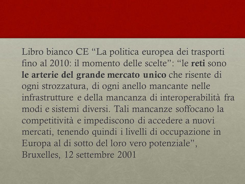 """Libro bianco CE """"La politica europea dei trasporti fino al 2010: il momento delle scelte"""": """"le reti sono le arterie del grande mercato unico che risen"""