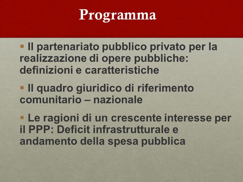 Programma  Il partenariato pubblico privato per la realizzazione di opere pubbliche: definizioni e caratteristiche  Il quadro giuridico di riferimento comunitario – nazionale  Le ragioni di un crescente interesse per il PPP: Deficit infrastrutturale e andamento della spesa pubblica