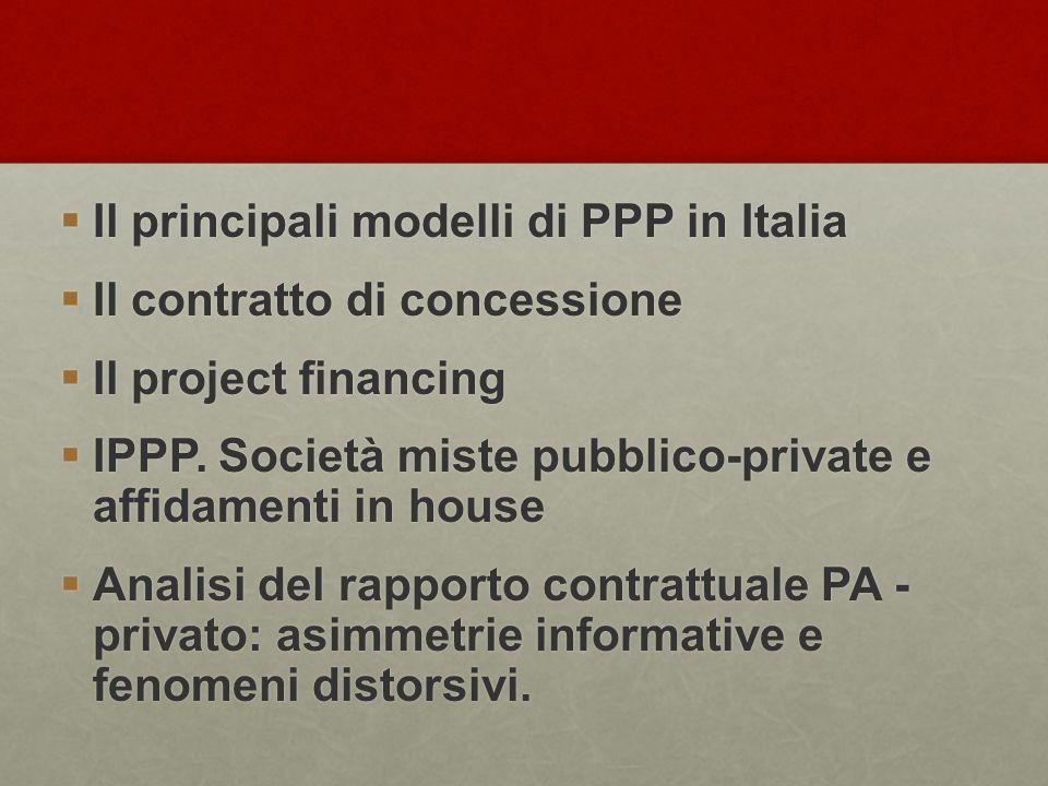  Il principali modelli di PPP in Italia  Il contratto di concessione  Il project financing  IPPP. Società miste pubblico-private e affidamenti in