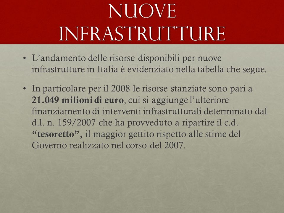 Nuove infrastrutture L'andamento delle risorse disponibili per nuove infrastrutture in Italia è evidenziato nella tabella che segue.L'andamento delle risorse disponibili per nuove infrastrutture in Italia è evidenziato nella tabella che segue.