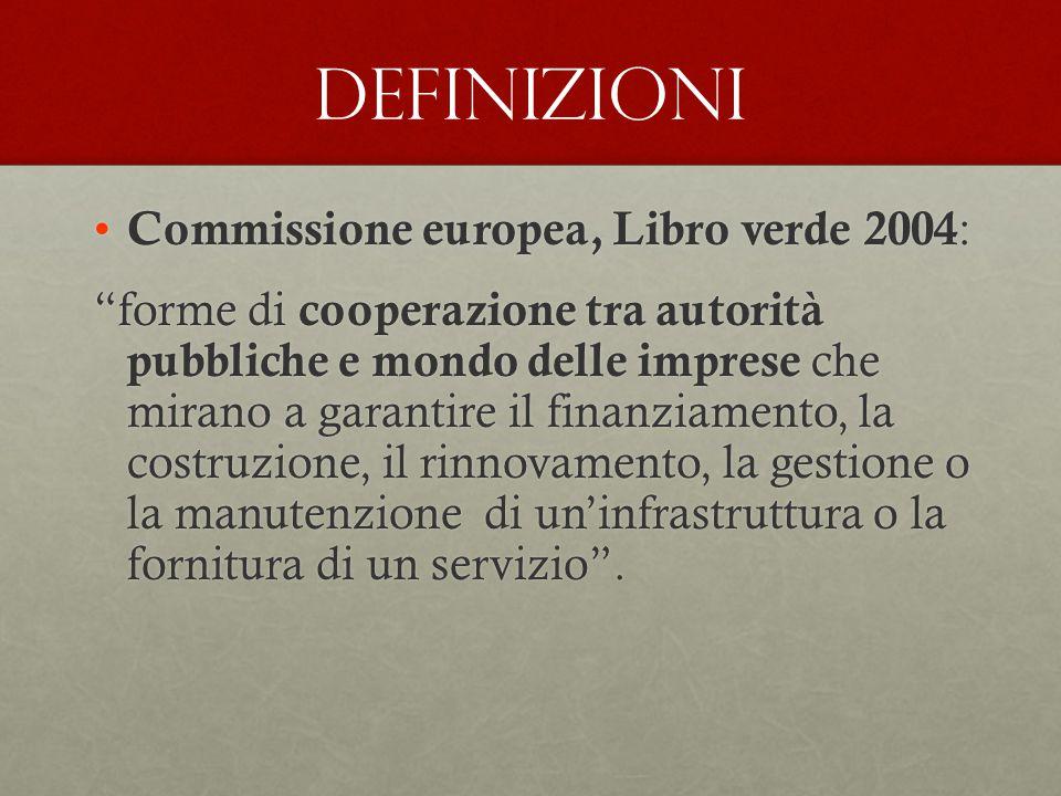 """Definizioni Commissione europea, Libro verde 2004 : Commissione europea, Libro verde 2004 : """"forme di cooperazione tra autorità pubbliche e mondo dell"""