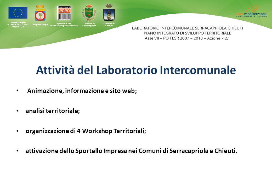 Attività del Laboratorio Intercomunale Animazione, informazione e sito web; analisi territoriale; organizzazione di 4 Workshop Territoriali; attivazione dello Sportello Impresa nei Comuni di Serracapriola e Chieuti.