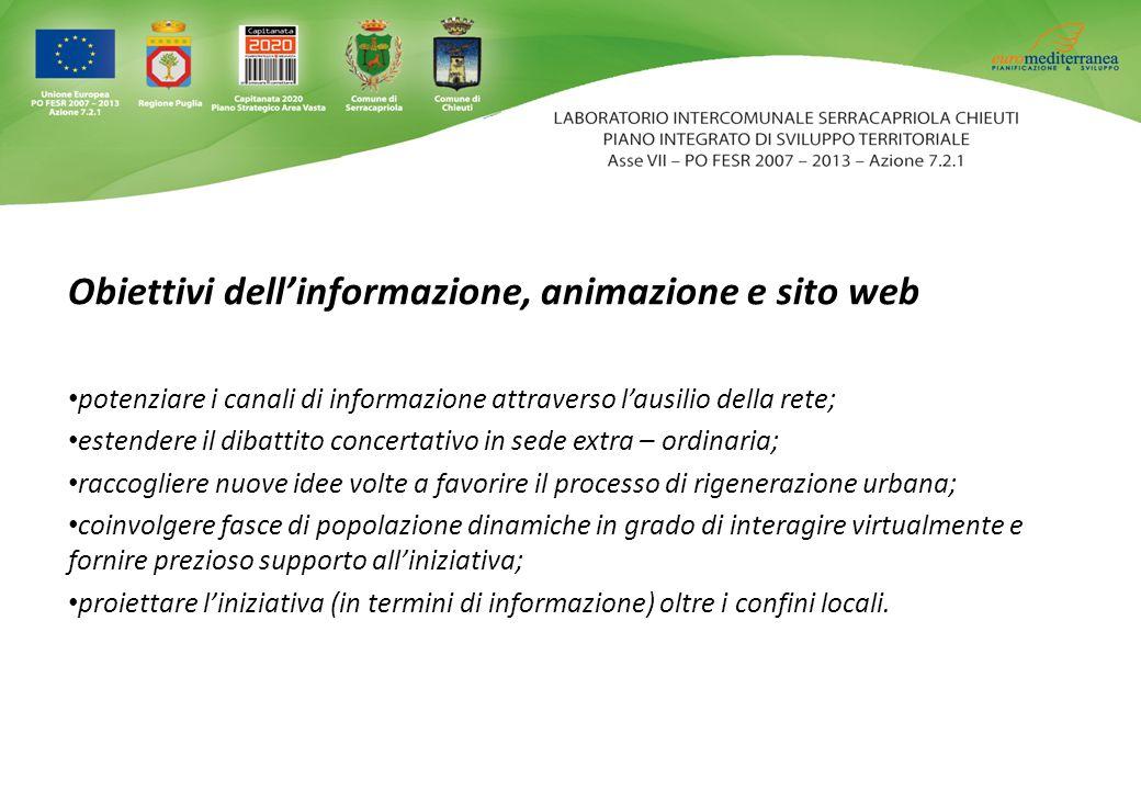 Obiettivi dell'informazione, animazione e sito web potenziare i canali di informazione attraverso l'ausilio della rete; estendere il dibattito concert