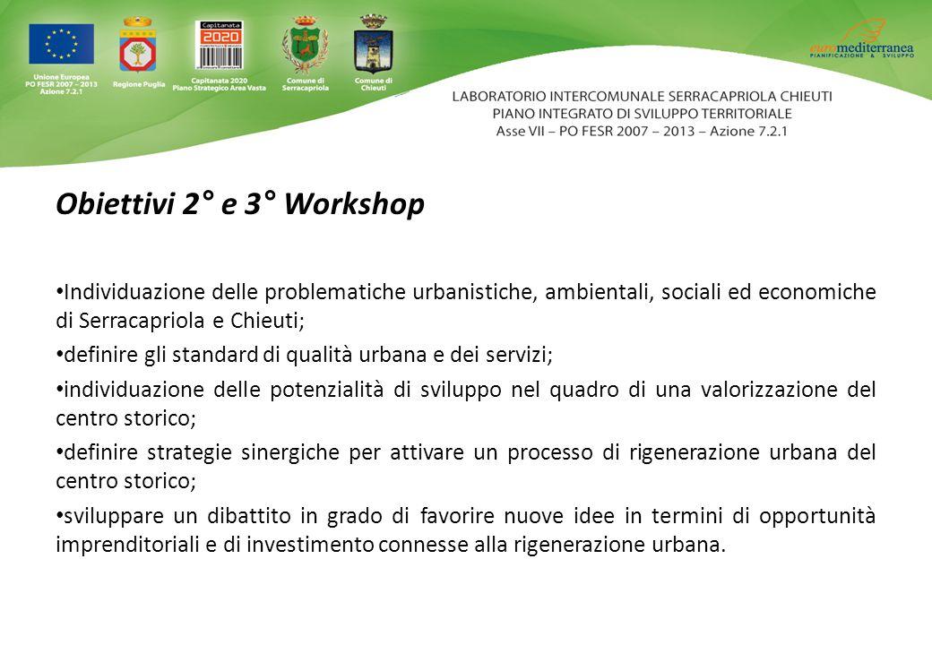 Obiettivi 2° e 3° Workshop Individuazione delle problematiche urbanistiche, ambientali, sociali ed economiche di Serracapriola e Chieuti; definire gli