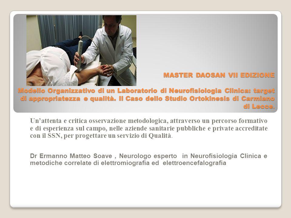 MASTER DAOSAN VII EDIZIONE Modello Organizzativo di un Laboratorio di Neurofisiologia Clinica: target di appropriatezza e qualità.